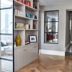nice internal window with crittal-style black frame to bring light through. interest provided by the tones and variation in the large format herringbone flooring window ideas BRODRICK — Blakes London Home Living Room, Living Room Designs, Living Spaces, Crittal Doors, Crittall Windows, Style At Home, Interior Exterior, Interior Design, Internal Doors