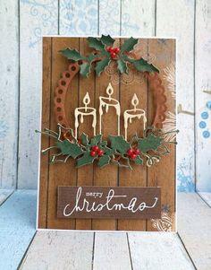 новогодняя открытка с изображением венка