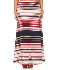 Loving this Navy & Red Stripe Maxi Skirt - Plus on #zulily! #zulilyfinds
