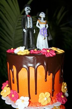 Day of the dead wedding theme/cake at Flora Farms in San Jose Del Cabo, Mexico..