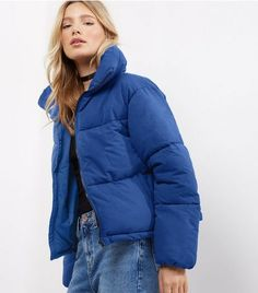 Discover the latest trends at New Look. Lazy Winter Outfits, Fall Outfits, Cute Outfits, Fashion Outfits, Fall Fashion, Blue Puffer Jacket, Puffy Jacket, Mode Streetwear, Streetwear Fashion