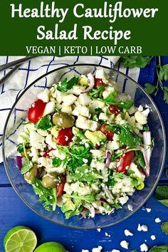 Salad Recipes Raw, Raw Food Recipes, Healthy Recipes, Healthy Meals, Easy Recipes, Keto Recipes, Vegetarian Recipes, Raw Cauliflower Salad, Cauliflower Recipes