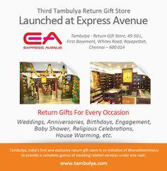 Third return-gift showroom. Tambulya now in the Express Avenue Mall, Chennai