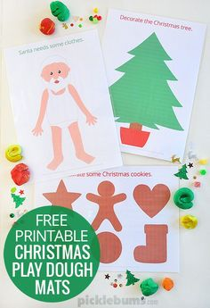 How cute are these? Print out, laminate and let the kids go to town with these free printable Christmas play dough mats!