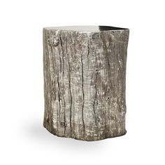 Silver Leaf Log Stool - How cool is this?! Could be a stool or side table.