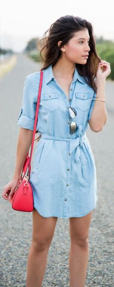 How to Wear a Chambray Shirtdress by Stylishly Me