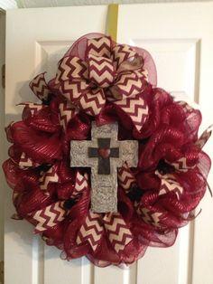 Maroon Deco Mesh Cross Wreath with Chevron Ribbon on Etsy, $58.00