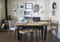 Cozy up for dinner in this chic and warm dining room