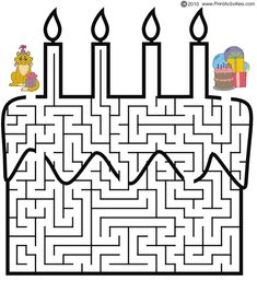 This birthday cake shaped maze is excellent as a birthday party favor. This fun free printable maze activity page is great for birthday kids who enjoy maze puzzles. Mazes For Kids Printable, Worksheets For Kids, Free Printable, Kindergarten Activities, Activities For Kids, Coloring Books, Coloring Pages, Maze Worksheet, Maze Puzzles