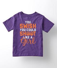Love this Purple 'Shoot Like A Girl' Tee - Toddler & Girls on #zulily! #zulilyfinds