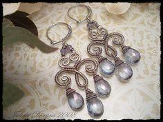 Wire Jewelry Earrings, Wire Wrapped Earrings, Copper Jewelry, Beaded Jewelry, Handmade Jewelry, Beads And Wire, Artisan Jewelry, Jewelry Crafts, Jewelry Making