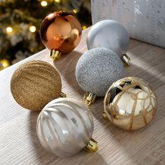 Shatterproof Luxury Christmas Tree Baubles, 48-Piece - Bronze/Silver/Gold