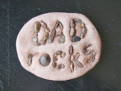 "Children will enjoy creating a paperweight for their dad for Father's Day using small pebbles that spell out the message ""Dad Rocks"" or ""My Dad Rocks!"""