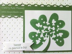 Stamps: Sprinkled Expressions, Teeny Tiny Wishes Paper: Garden Green, Whisper White Ink: Garden Green Accessories: Perfect Polka Dots embossing folder, Scallop Trim border punch St Patricks Day Cards, Happy St Patricks Day, Do It Yourself Crafts, Paddys Day, Cool Cards, Scrapbook Cards, Stampin Up Cards, Sprinkles, Holiday Cards