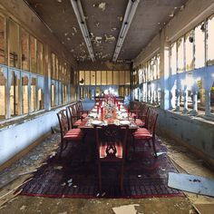"""Buy the joy of bankruptcy, Limited Edition, #6 of 6; 5 sold. just one left, a Giclée on Aluminium by Alfonso Batalla from Spain. It portrays: Architecture, relevant to: surrealism, table, chair, decay, architecture, dinning room, abandoned This one has got a silverd award in One Eyeland Awards 2013    Description of series: Part of my work LANDSCAPE UNDER CONSTRUCTION where current and bright objects are inserted into decaying architectures showing the contradiction between """"being onesel..."""