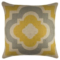 Burlap pillow with quatrefoil motif in yellow and grey. Handmade in the USA.   Product: PillowConstruction Material:...