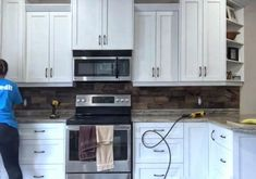 If your looking for an inexpensive way to upgrade your kitchen this DIY backsplash is a fraction of the cost per tile and has a major WOW factor! Faux Brick Backsplash, Subway Tile Backsplash, Kitchen Backsplash, Backsplash Ideas, Rental Kitchen, Diy Kitchen, Kitchen Ideas, Kitchen Decor, Kitchen Design