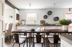 The rustic, neutral and minimalist country kitchen of our dreams! See the full home tour and read all the insider tips on Rustic Meets Refined: 7 Lessons from Designer James Huniford over on our Style Guide! Interior Design Examples, Country Interior Design, Design Ideas, Design Concepts, Interior Ideas, Farmhouse Style Kitchen, Country Kitchen, Modern Farmhouse, Restored Farmhouse