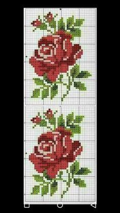 Ponto Cruz. Cross Stitch Cards, Cross Stitch Rose, Cross Stitch Flowers, Cross Stitch Embroidery, Hand Embroidery, Embroidery Designs, Crochet Flower Scarf, Crochet Flowers, Crochet Eyes