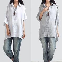Przewiewna i obszerna, długa koszula lniana damska rozpinana z przodu.