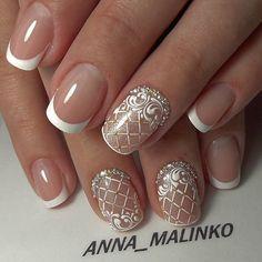Wedding Nail Art Designs For Brides Bride Nails, Wedding Nails, Pretty Nail Designs, Nail Art Designs, Hot Nails, Hair And Nails, Nail Art Arabesque, Bridal Nail Art, Bridal Makeup