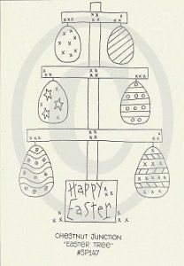 Easter Tree Embroidery Epattern...primitive country spring stitchery doodle pattern sewing craft design paint rug hooking needle punch applique digital stamp machine embroidery sew craft patterns shabby chic cottage decor decoration handmade fabric cloth crafting by Chestnut Junction.