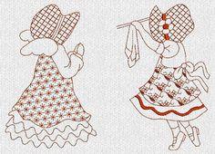 DOWNLOAD immediato Sunbonnet Sue Redwork Machine di embroiderygirl