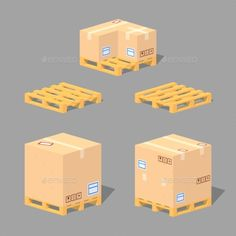 Low Poly Cardboard Boxes on Pallets
