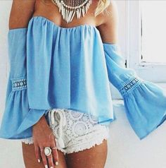 off the shoulder tops + crochet shorts #indah