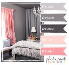 Blush pink and gray. the top two are the colors we picked for our house! wow.. crazy! same purplish tint! second shade is our mantel. first is the trim :)