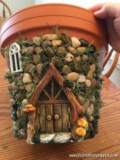 Here's how to make a sweetly whimsical DIY fairy house planter from a terra … - Easy Diy Garden Projects Diy Fairy Garden, Fairy Garden Houses, Gnome Garden, Garden Crafts, Garden Art, Garden Design, Fairies Garden, Garden Planters, Diy Fairy House