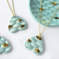 Mermaid necklace- gorgeous blue and gold hues! Mermaid Necklace - Ceramic and Gold Modern Mud Ceramic Jewelry, Mermaid Jewelry Mermaid Jewelry, Mermaid Necklace, Jewelry Crafts, Handmade Jewelry, Jewelery, Jewelry Necklaces, Boho Jewelry, Fine Jewelry, Bijoux Design