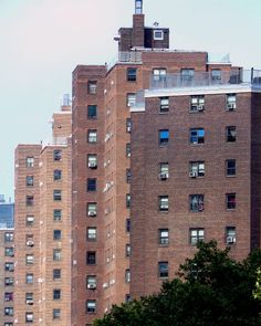 Apartment buildings in East Harlem, Manhattan.