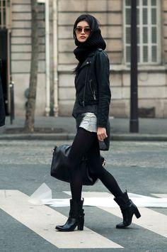 black. leather.