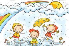 Happy kids playing in the rain, vector drawing for children by Optimistic Kids Art (Katerina Davidenko illustration) Art Drawings For Kids, Doodle Drawings, Drawing For Kids, Easy Drawings, Art For Kids, Rainy Season Essay, Rainy Day Drawing, Drawing Rain, Free Vector Art