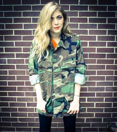 Repurposed / Recycled Silver Metal Pyramid Studded Shoulder Army Jacket