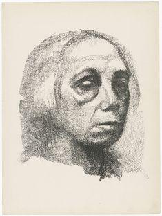 Small Self-Portrait (Kleines Selbstbildnis) (plate 3) from the illustrated book Deutsche Graphiker der Gegenwart (German Printmakers of Our Time) - Käthe Kollwitz