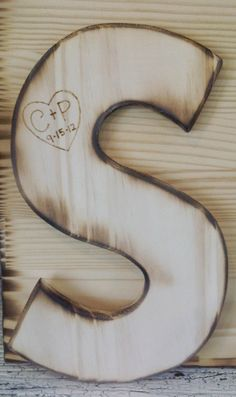 Customized Wood Initial Baby Nursery Personalized Letter -Woodburned w heart & bride and groom intials and wedding date