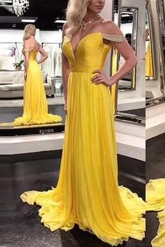 V Neck Off the Shoulder Yellow Prom Dresses Evening Prom Gowns Graduation Dress,P1330 #graduationdresses
