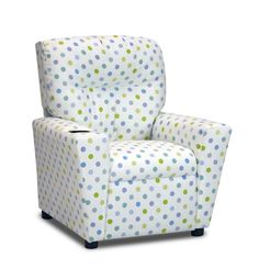 Capri Kids Recliner in White w/ Polka Dots