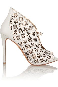 Schutz Woman Lace-up Laser-cut Leather Sandals Beige Size 10 Schutz bmfYSfrUAR