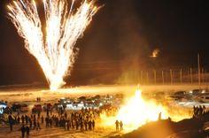 Fireworks and bonfire at the Sunrise Festival