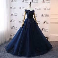 Blue Ball Gowns, Ball Gown Dresses, Tulle Dress, 15 Dresses, Pretty Dresses, Beautiful Dresses, Evening Dresses, Navy Evening Gown, Ball Gowns Evening