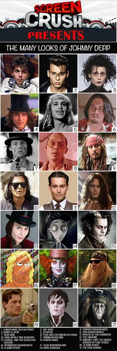Johnny Depp Many LooksYou can find Johnny depp movies and more on our website.Johnny Depp Many Looks Young Johnny Depp, Here's Johnny, Johnny Depp Characters, Movie Characters, Best Johnny Depp Movies, Johnny Depp Quotes, The Lone Ranger, Film Serie, Captain Jack Sparrow