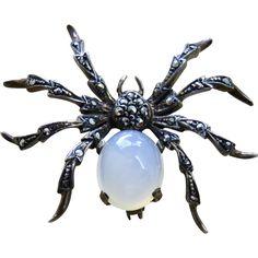 Deco Moonstone + Marcasite Sterling Spider Brooch  #VintageBeginsHere at www.rubylane.com @rubylanecom