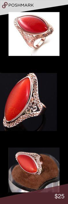 Orange Opal Jewelry Hollow Design Orange Opal Jewelry Hollow Design Fashion Jewelry  Size 9 Jewelry Rings
