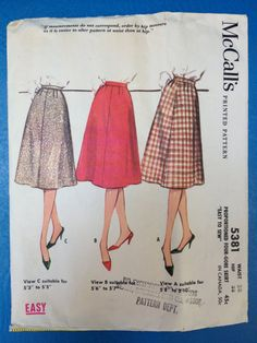 d148110be277 McCall s 5381 Pattern for Misses  Basic A-Line Skirt