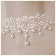 Bine Fashion Adjustable White Lace Necklace Multi-layer Small Pearl Pendant Clavicle Chain for Masquerade Party. Cheap Choker Necklace, Lace Necklace, Collar Necklace, Fashion Necklace, Crochet Necklace, Necklace Set, White Lace Choker, Estilo Lolita, Neck Accessories