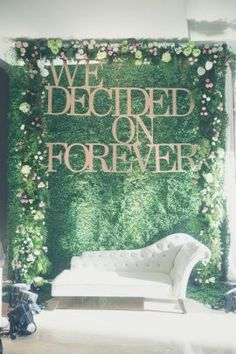 Want to see a train in an Indian wedding that can rival any western counterpart ? Right from the fern backdrop with the perfect slogan, to the absolutely stu. Floral Wedding Decorations, Wedding Arrangements, Wedding Ideas, Wedding Themes, Indian Wedding Stage, Indian Party, Desi Wedding, Wedding Bride, Wedding Ceremony