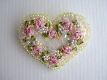 ribbon embroidery heart pin